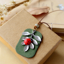 Miage Miage Cute Ladybug Olive Leaf Velvet Pendant Sweater Leather Rope Nceklace Women Fashion Accessories Jewelry