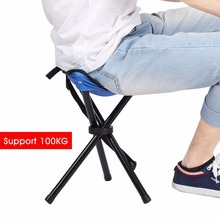 Outdoor Portable Folding Large Three Legged Camping Chair High Quality Waterproof Fishing Stool Picnic Chair Blue Support 100KG(China)