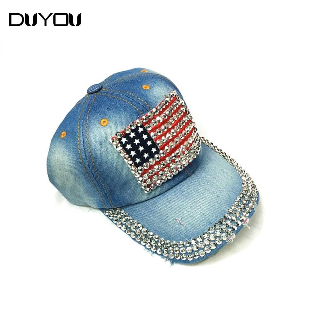 Hip Hop Rock Rivets American Flag Print Baseball Cap Fashion Snapback Hats Casquette Bone Denim Hat for Men Women Apparel<br><br>Aliexpress