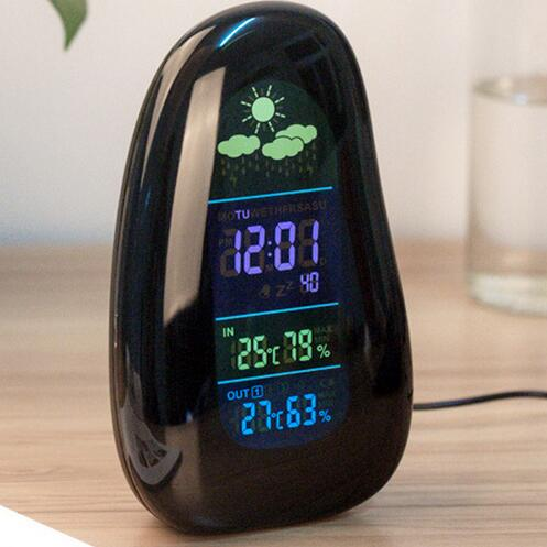 Out/Indoor Wireless Digital Cobblestone Shaped Humidity Temperature Thermometer Hygrometer LED Alarm Clock Weather Station 50%<br>