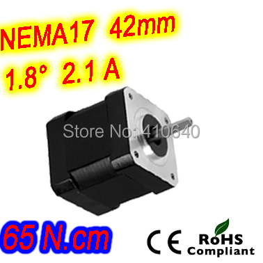 FREE SHIPPING  step motor 17HS24-2104S  L 60 mm  Nema 17 with 1.8 deg  2.1 A  65 N.cm and  bipolar 4 lead wire HIGH TORQUE TYPE<br>
