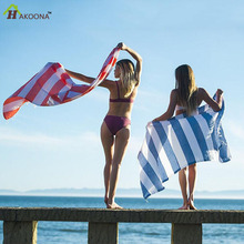 HAKOONA Turkish Beach towels for Adults 100*180 cm Cotton  Yarn-Dyed Stripes Thin Bath Towel Shawl Sunscreen Towels