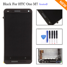 Black LCD For HTC One M7 LCD Display + Touch Screen with Digitizer Full Assembly + Bezel Frame + Open Tools , Free shipping !!!