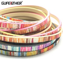 GUFEATHER 5MM Colored stripes Leather cord/jewelry accessories/jewelry findings/rope/diy accessories