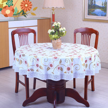 New Style PVC Pastoral Non Wash Round Oilproof Table Cloth Waterproof Plastic Pad Plus Velvet Anti Hot Hotel Coffee Tablecloths