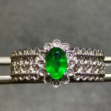18k gold natural gemstone ring for women hot sale MEDBOO brand 0.65ct green emerald ring 18k white gold classic hand jewelry(China)
