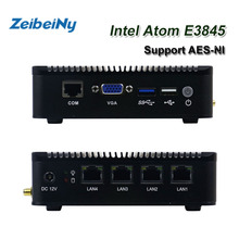 ATOM E3845 VPN server Mini pc quad core fanless pfsense firewall with 4 Lan port router support AES-NI(China)