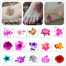 6X6cm Little Colored Plant Rose Flower Designer Temporary Tattoo Sticker Body Art Water Transfer Fake Taty for Face