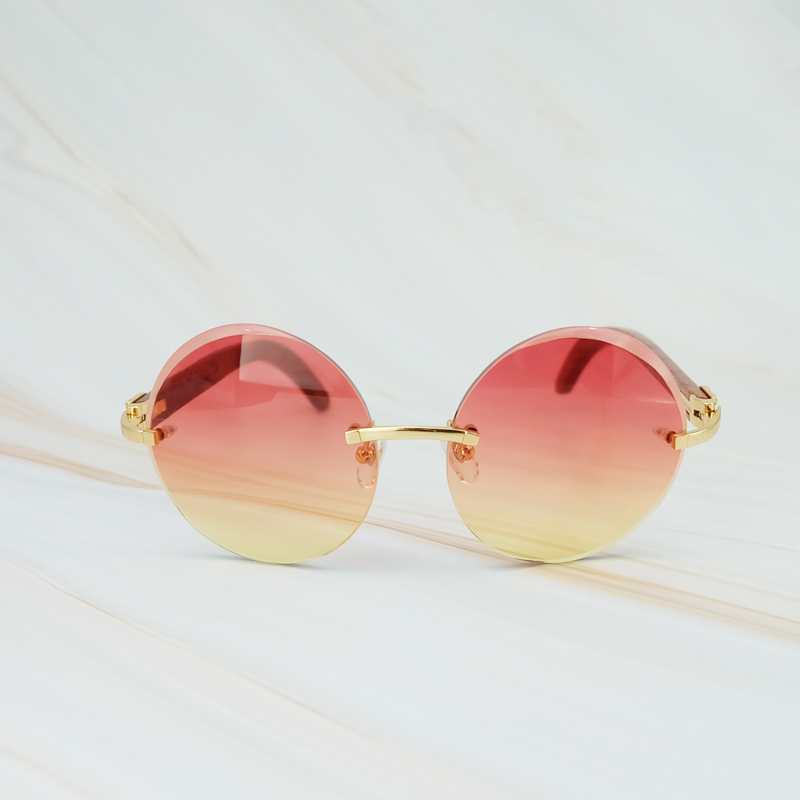 2018 Vintage Retro Big Rimless Frame Colorful Yellow Pink UV400 Protect Brand Designer Sunglasses For Men And Women Round Shades (4)