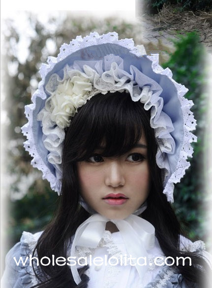 Gray Blue Victorian Era Bonnets Lolita Headdress Head Wear<br>