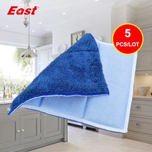 East 5pcs Microfiber Double-sided Absorbent Wipes Thick Scouring Pad Kitchen Cleaning Cloth Washing Dishes Cloth(China)