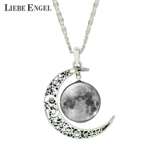 LIEBE ENGEL Fashion Moon Pendant Necklace Vintage Silver Color Statement Chain Necklace New Glass Cabochon Necklace Fine Jewelry(China)