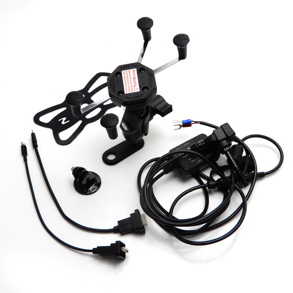 KEMiMOTO For BMW R1200GS R1200R S1000R Motorcycle Navigation Frame Riding Mobile Phone Mount Bracket GPS Holder with USB Charger<br>