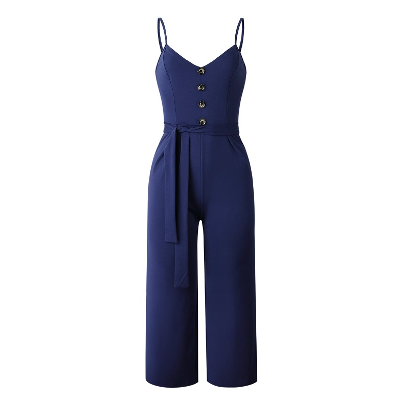 101046 2019 Summer Women Solid Skinny Sexy Jumpsuit Casual Bandage Streewear Spaghetti Strap V-neck Playsuit Overalls for Women Party 6