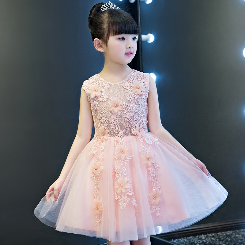 2017 New Korean Sweet Elegant Girls Party Dress Summer princess wedding birthday dresses with flowers decoration for baby girl<br>