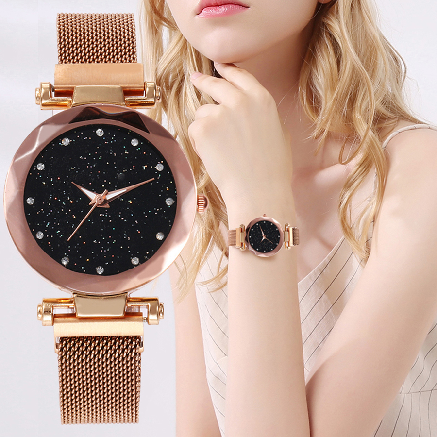 Best Selling Women Mesh Magnet Buckle Starry Sky Watch Casual Luxury Women Geometric Surface Quartz Watches Relogio Feminino(China)