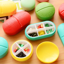 Portable Pill Box Medicine Case 4/6 Slots Medicine Case Drug Pill Case Cute Round and Oval Shaped Pill Splitters Cases
