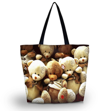 Teddy Bears Ladies Soft Foldable Zipper Shopping Bag Womens Girls Shoulder Shopping Tote Large School Bag Handbag Beach Bag(China)