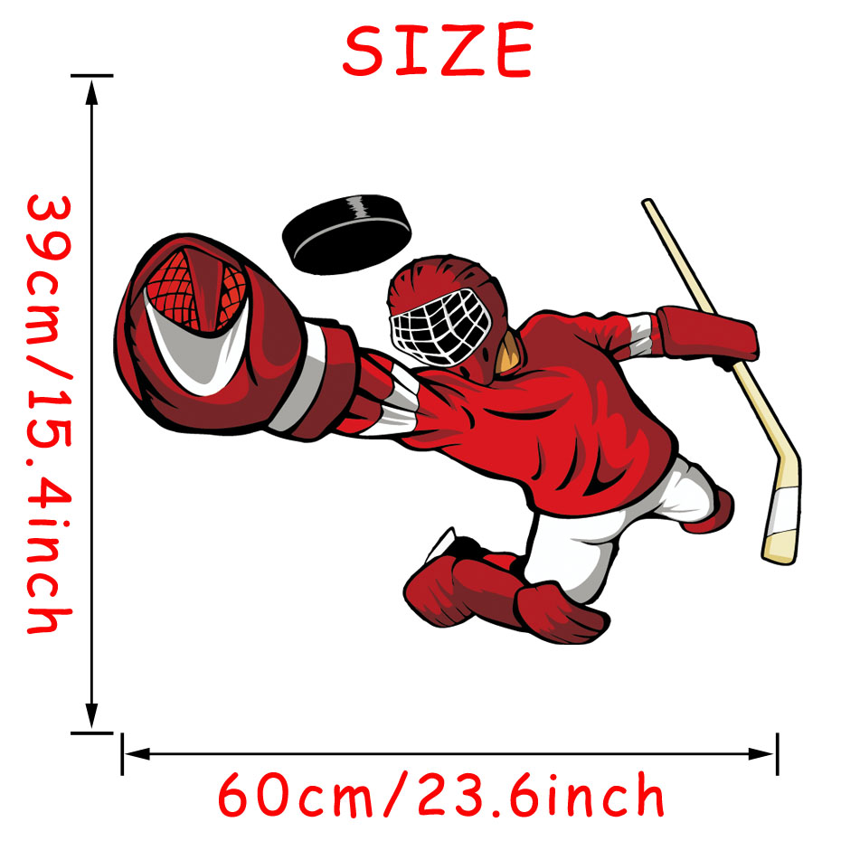 Hockey Player Wall Art Sticker 3d Sports Poster Boys Bedroom Hockey Wall Decal For Kids Room Home Decoration (7)