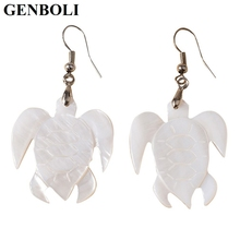 GENBOLI Free Shipping Women Fashion Jewelry New Zealand Abalone Shell Turtle Shape Earrings 1Pair Gift For Girls Women Friends(China)