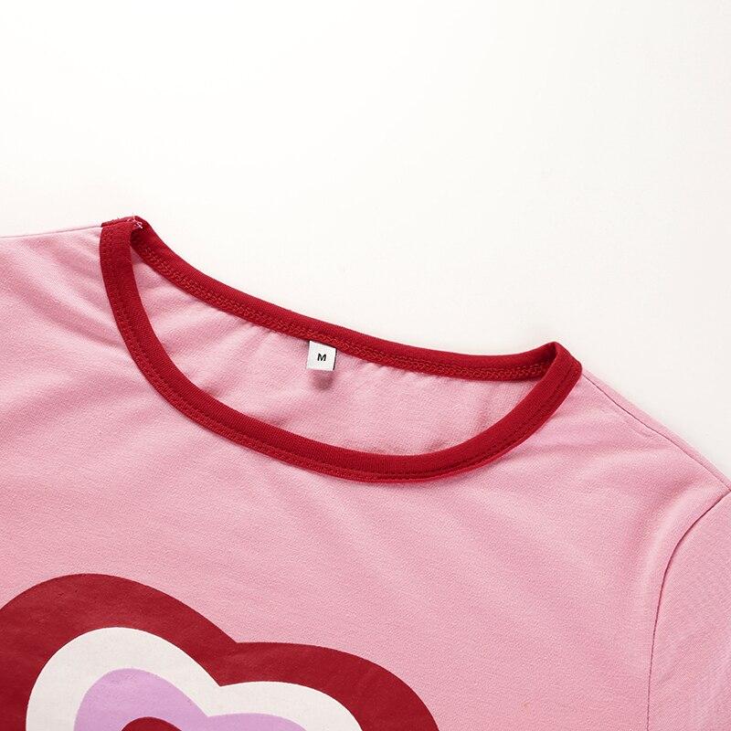 7Sweetown Pink Korean Style Heart Graphic Crop Top T Shirt Women Short Sleeve Kawaii Tee Shirt Vogue Summer Tops For Women 2018