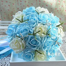 Real Images Romantic Wedding Bridesmaid Rose Artificial Flowers Bridal Bouquets In Stock Handmade Wedding Bouquets(China)