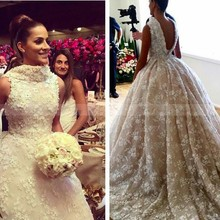 2017 Luxury Lace 3D Flora Flowers Low Back Wedding Dress Long Train High Collar Beaded Puffy Ball Gown Princess Bridal Gowns