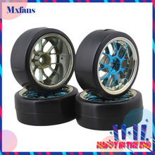 Mxfans 4 x Drift Tires & Y Shape Blue Hub Wheel Rims for RC 1:10 Drift Car Black Plastic(China)