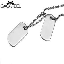 GAGAFFEL Laser Engraving Customized Logo Stainless Steel Dog Tag Army Military Card Pendant Necklaces Silver Color Love Jewelry(China)