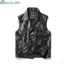 Grandwish PU Leather Vest Men Motorcycle Turn-down Collar Faux Leather Vest Mens Hip Pop Sleeveless Jacket Waistcoat ,DA389(China)
