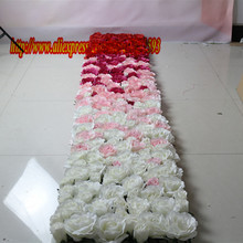 NEW 2.4m*3m Artificial silk rose flower wall wedding background lawn/pillar road lead market decoration TONGFENG