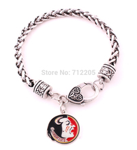 Fans Collection 10pcs Wheat Link Bracelet Chain with enimal single-sided Florida State Seminoles team LOGO bracelets(China)