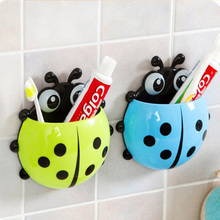 Cute Ladybug Cartoon Sucker Toothbrush Holder Suction Hooks / Household Items / Toothbrush Rack / Bathroom Set #69824(China)