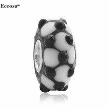 White With Black Dot Silver Plated Core Murano Glass Lampwork Beads Fit Women Bracelet Jewelry Making Diy Jewelry Findings(China)