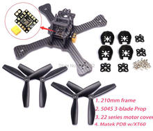 Mini DIY 210 210mm quadcopter carbon fiber frame with 4mm arm + Matek PDB board w/ XT60 + 5045 propeller for GEPRC GEP-TX