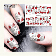 HOT Water Transfer stickers for nail art red sexy flowers rose vines Fingernails Decals Manicure Decoraiton for nails [YZW133](China)