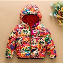 2015 Boys Girls Fashion Cartoon Printed Down Jacket Children Casual Multicolored Coat  Down Garment Kids Outerwear Clothes G204