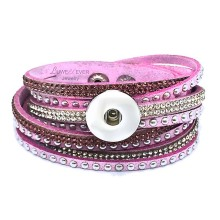 Hot Bling Bling Multi-turn 189 Rhinestones Korean velvet 18mm Snap Button Jewelry Charm Bracelet For Women Teenagers 39cm(China)
