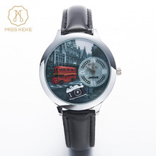 Watch Women MISS KEKE 3D Hand Made Clay Red Bus Camera Children Watch PU Strap Ladies Watch Cute Women Wristwatches