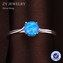 Simple 925 Szterling Silver Ring Round White Blue Synthetic Opal Rings For Women