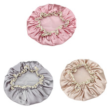 1 Piece New Lovely Thick Women Shower Satin Hats Colorful Bath Shower Caps Hair Cover Double waterproof Bathing Cap Wholesale(China)