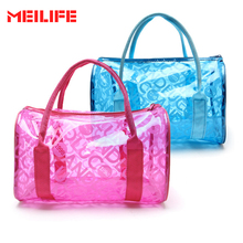 Women Swimming Waterproof Handbags Transparent PVC Plastic Pouch Beach Bags Organizer Sack Swimming Bag Letter Print Totes(China)