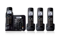 4 Handsets KX-TG6641 DECT 6.0 Digital wireless phone Black Cordless Phone with  Answering system