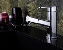 high quality brass material chrome single lever bathroom basin faucet with pull out shower head(China)
