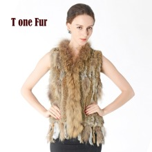 2017 New Knitted Rabbit Fur Vest With Raccoon Fur Collar Sleeveless Jacket Real Rabbit Fur Gilet Waistcoat KNT781