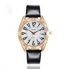 women watch 2017  unique luxury Fashion Ms Leather Waterproof Analog Date Sport Quartz Wrist Watch handmade clock relogio 170330