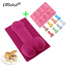 FILBAKE Sexy Penis Cake Mold For Birthday Fondant Cake Chocolates Ice and Soap 8 Penis Shape Cake Mold Silicone Cake Moulds