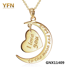 GNX11409 100% Real Pure Gold Pendant Necklace Fashion Jewelry Moon and Heart Charm Necklace Valentine's Gifts For Women