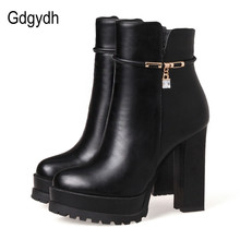 Gdgydh Fashion Crystal Ankle Boot For Women Leather Party Shoes 2017 New Autumn Winter High Heels Shoes Platform Big Size 43(China)