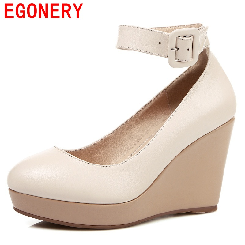 EGONERY shoes 2017 zapatos mujer gladiator genuine elather sheepskin pumps concise wedges round toe date retao buckles shoes<br>